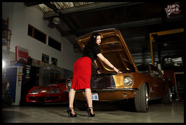 Red skirt and muscle car by StudioLaGuardaFrance