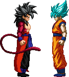 GOKU SSJ BLUE VS XENO GOKU SSJ4 by Isair-Dragneel