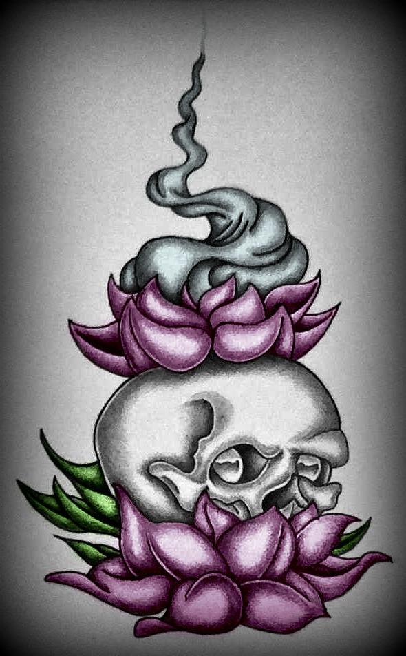 Lotus Flower And Skull By Amandamallory42 On Deviantart