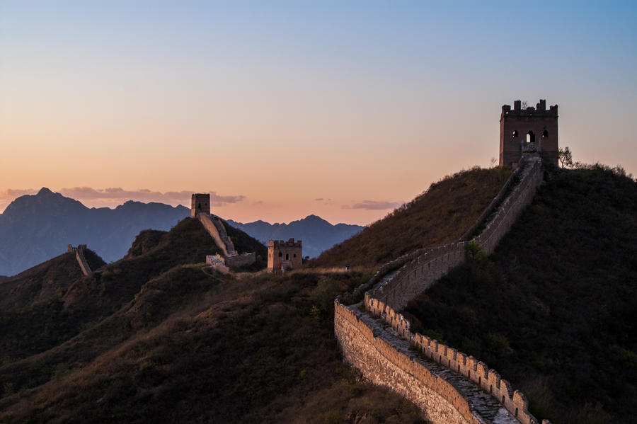 Great Wall of China at Sunset by donnosch