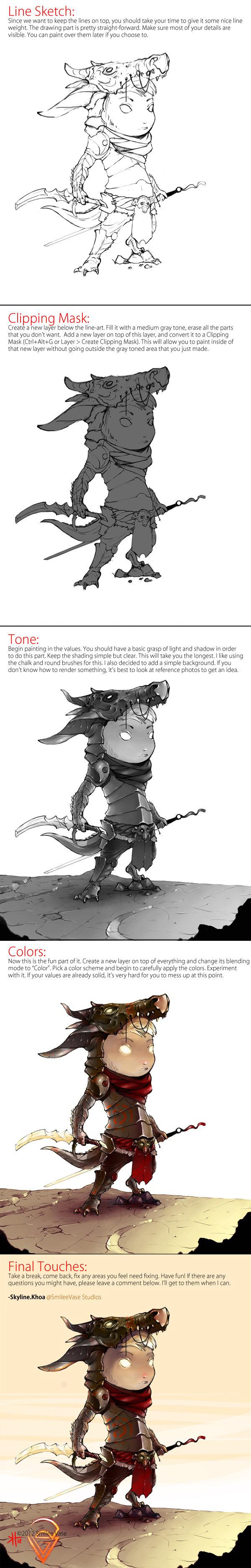 Dragon Kid - Photoshop Progress/Guide by KhoaSV