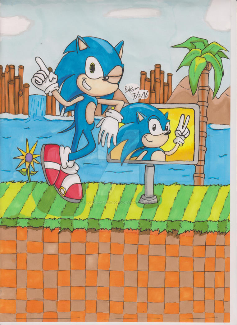 Trad FanArt - Sonic The Hedgehog - Green Hill Zone by SuedeHatBatLord