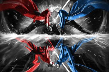 Dante vs Vergil DMC3 by Txikimorin