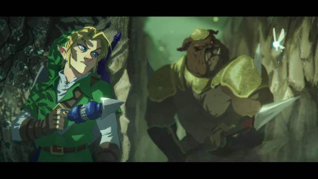 The Legend of Zelda: OoT- Link vs Moblin by Txikimorin