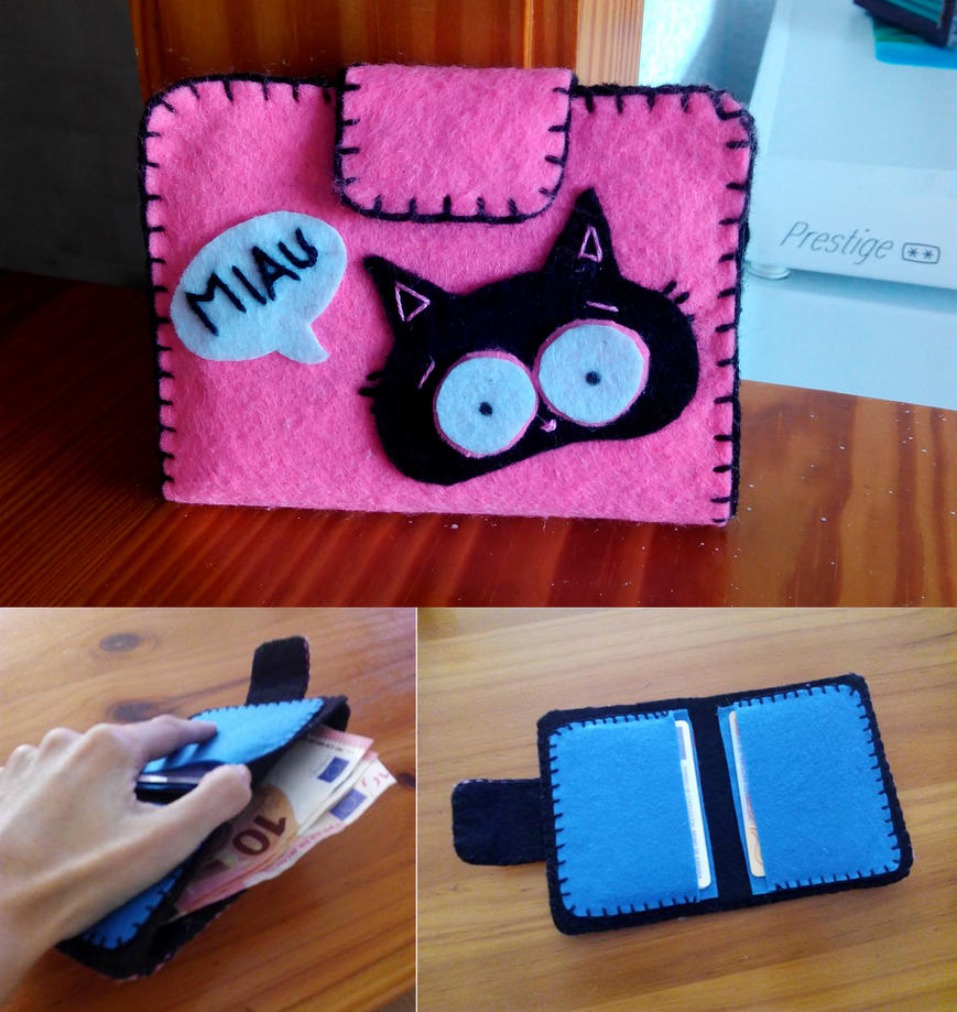 Cat Felt Wallet by anapeig