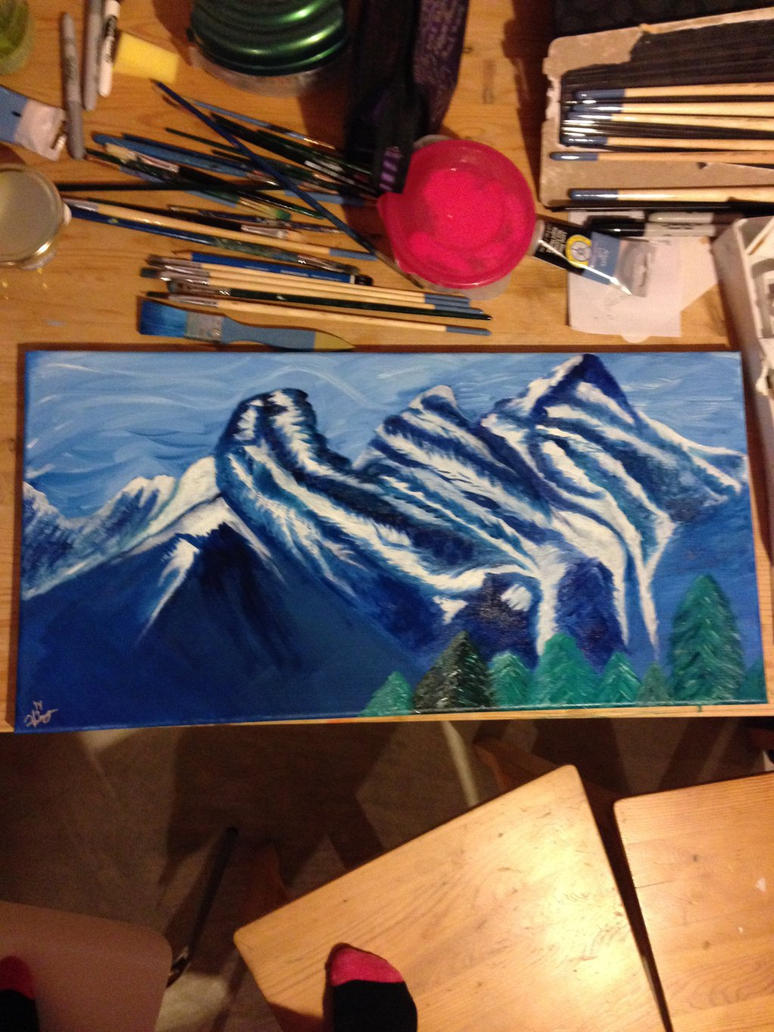 Three Sisters of Canmore in oil by HannahSluijer