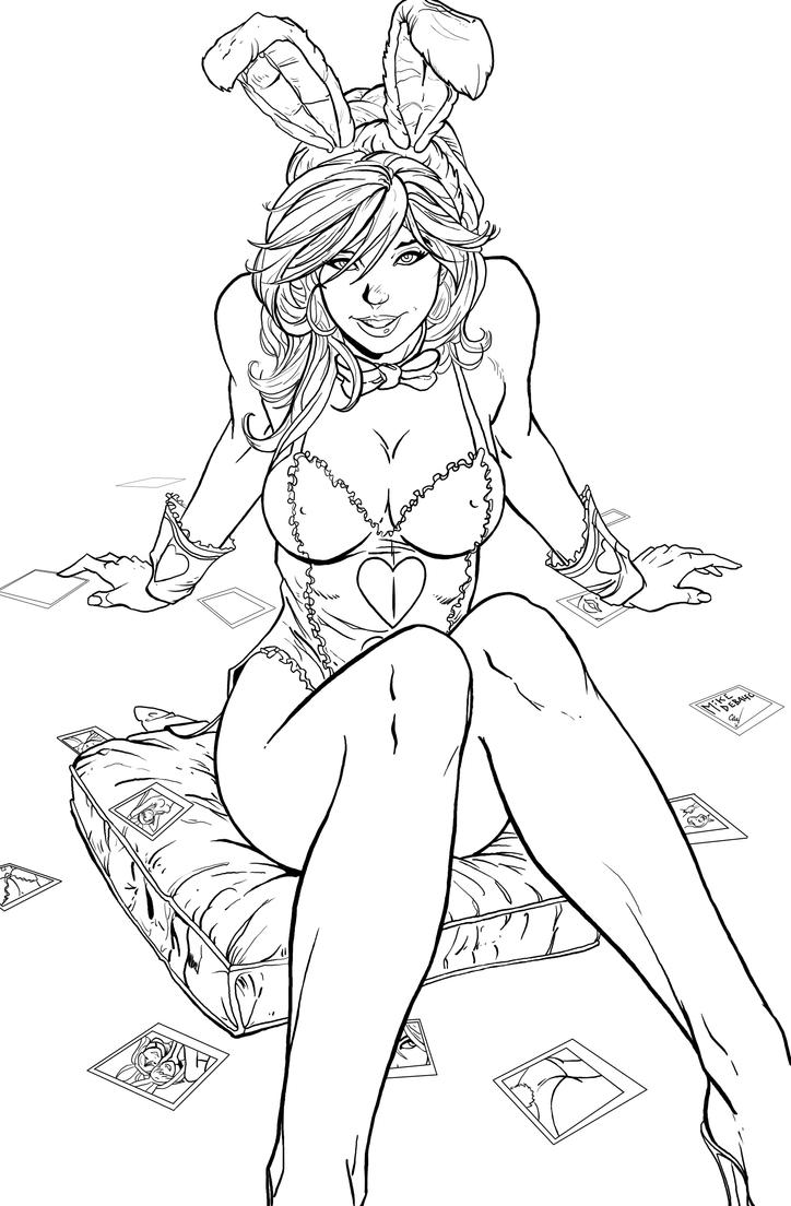 hot girl coloring pages white rabbit inks by chrisnewmann on deviantart