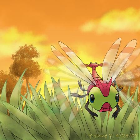 Pokemon Yanma at Sunset