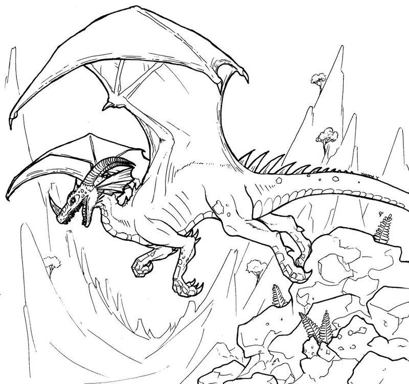 Dinosaurid Dragon Line Art by