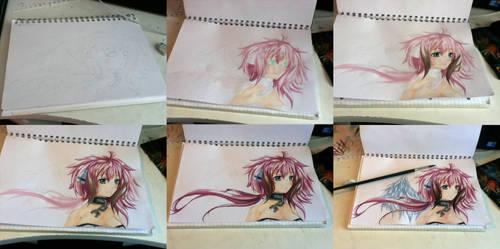 progress painting ikaros chan by xoxkimochiixox