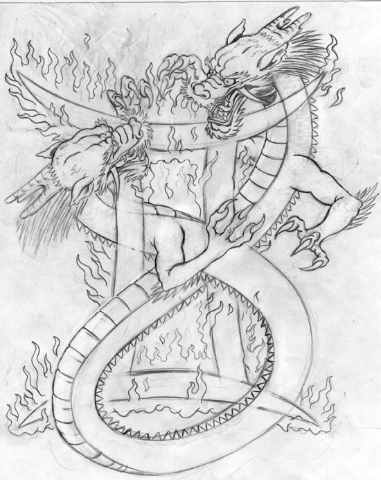 Gemini Tattoos With Dragons Sketch By