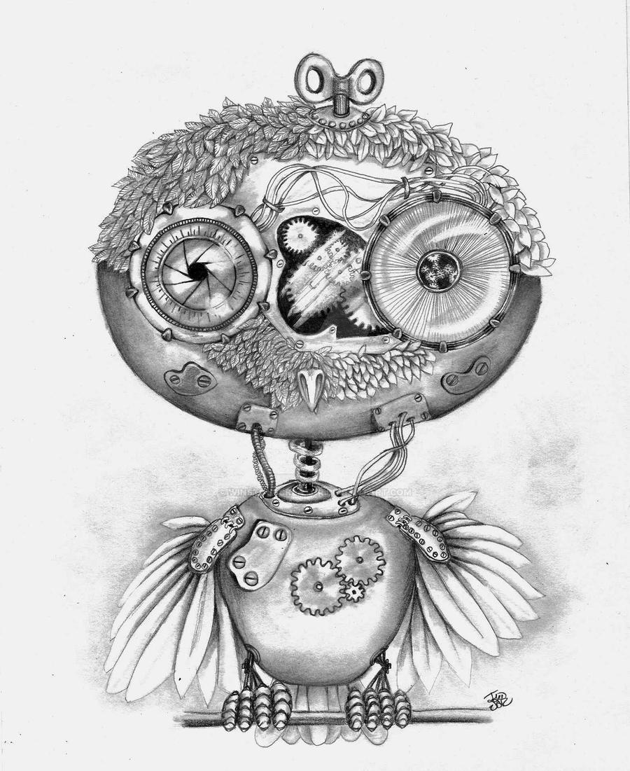 steampunk owl by winstonscreator