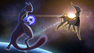Mewtwo Vs Arceus by KD-LoseAider