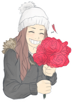 Here, have a rose! by Sabinaa