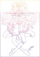 Cherushii and Lemia Lineart by YunaSakura