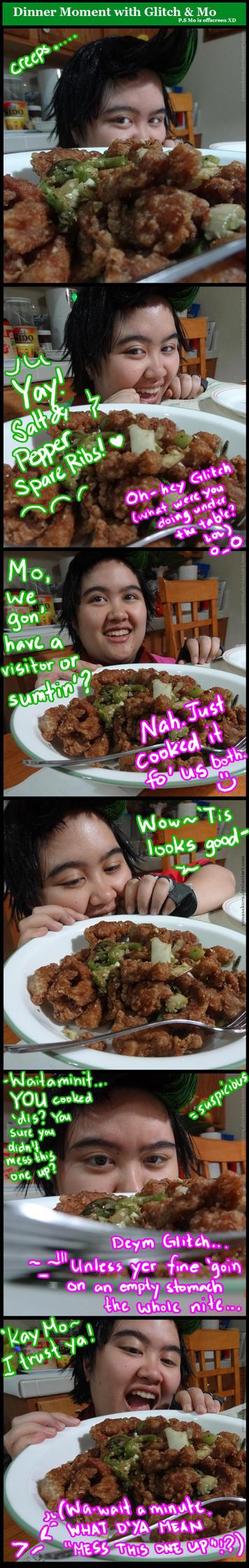 Random Dinner Moment with Mo and Glitch by YunaSakura