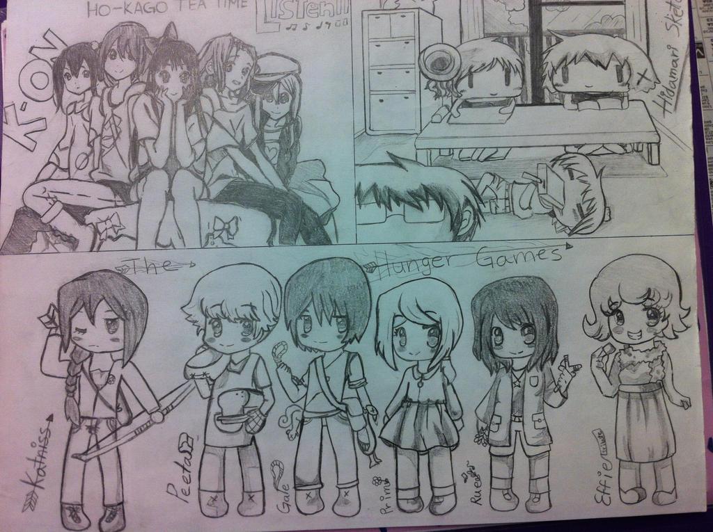 k on hidamari sketch and hunger games by kuran san13