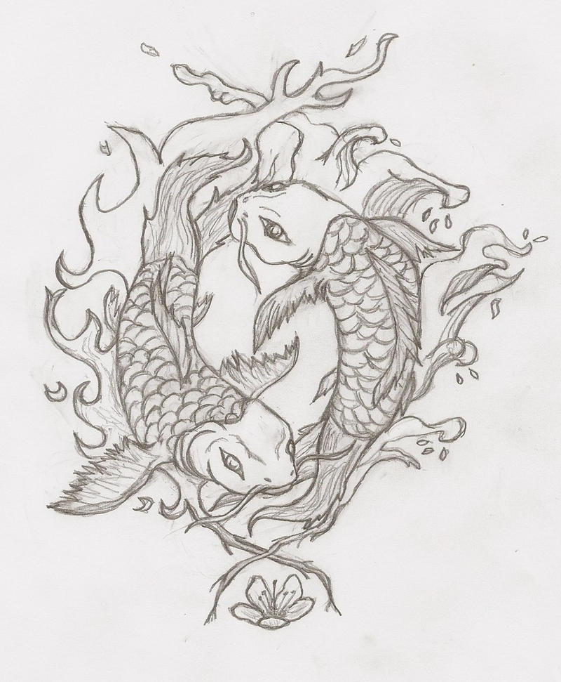 The gallery for japanese koi drawing for Yin and yang koi fish