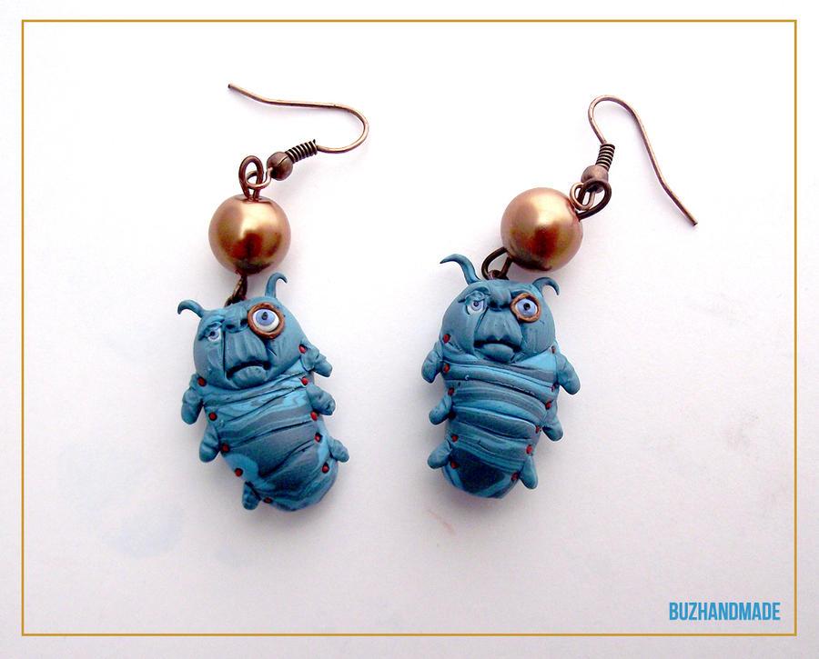 Alice in wonderland - The Caterpillar Earrings by buzhandmade