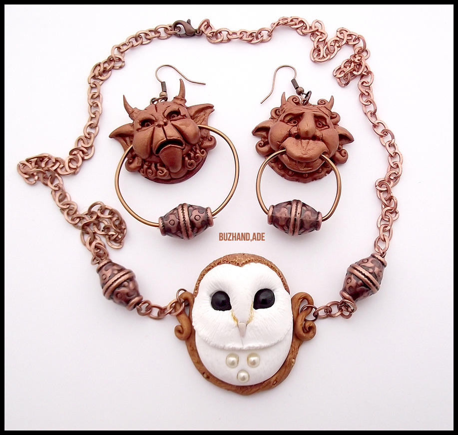 Knocker Earrings Labyrinth + Necklace White OWL by buzhandmade