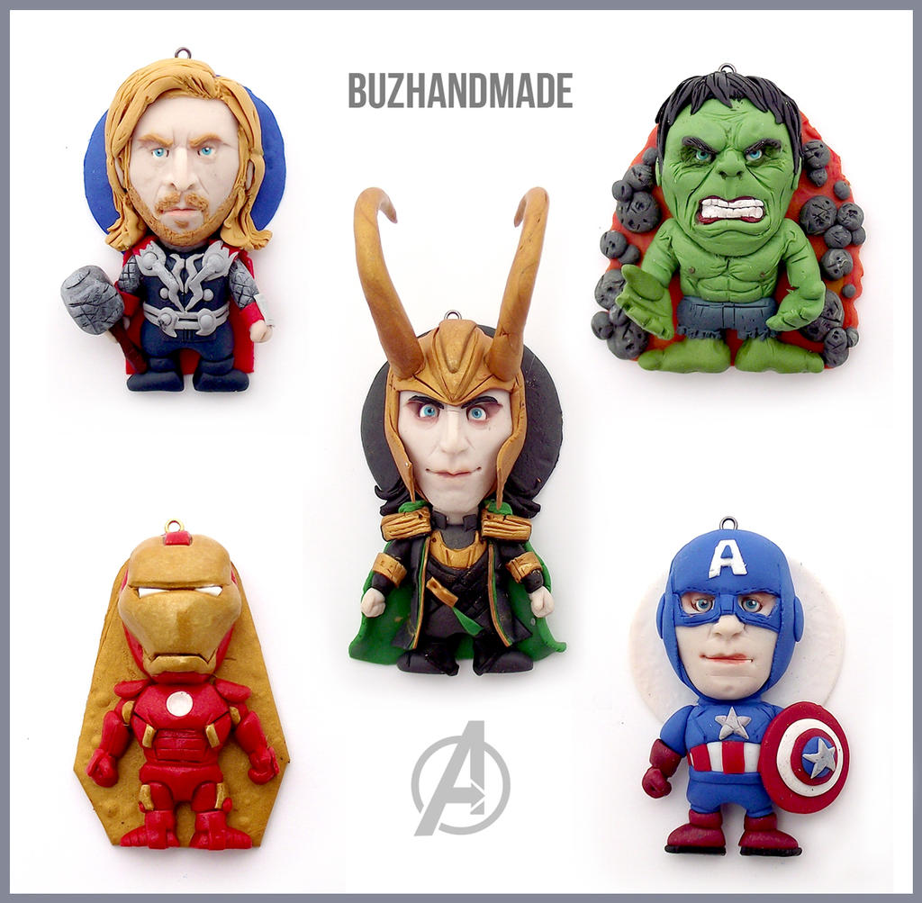 AVENGERS charms set - CLAY SCULPTURES by buzhandmade