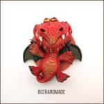Fantasy Fire Dragon - Polymer Clay Charm #2