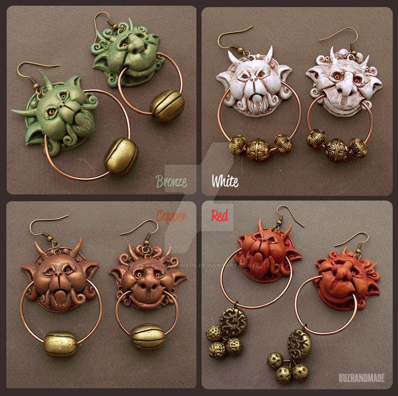 Knocker Earrings Labyrinth 4 colors - Buzhandmade by buzhandmade