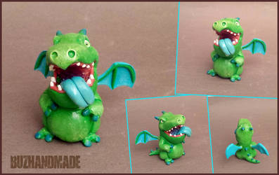 Baby Dragon - Clash Royale FANART - Clay Sculpture by buzhandmade