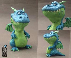 Funny Blue Dragon by buzhandmade