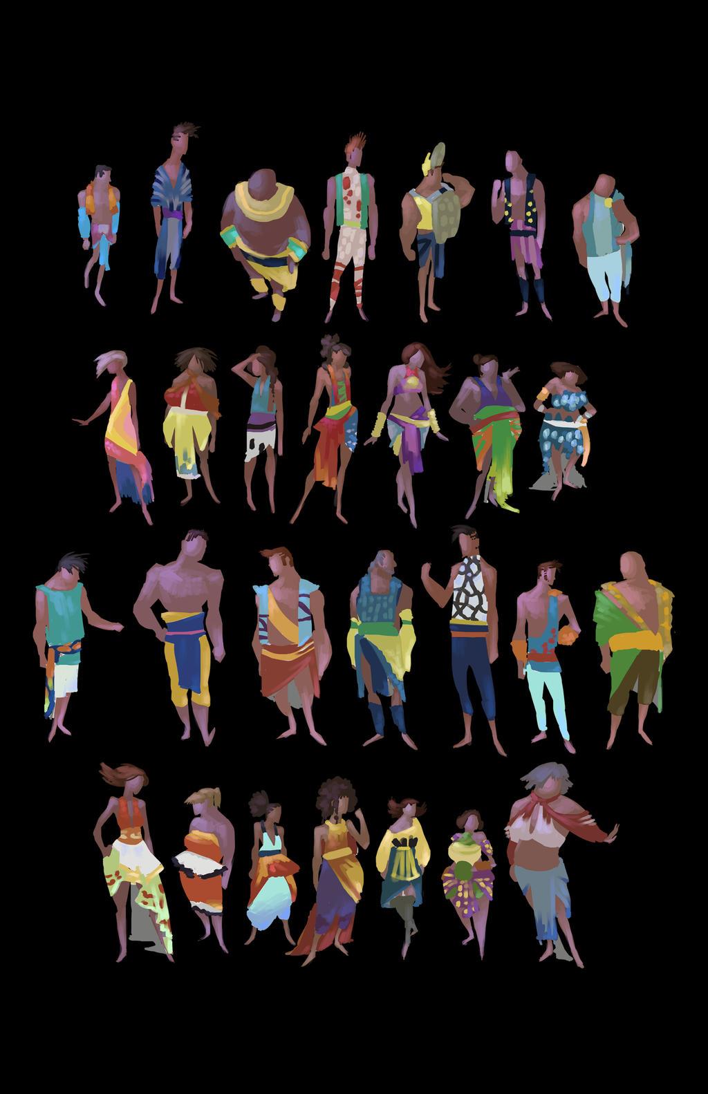 Costume Color Thumbnail Sketches - Atlantis