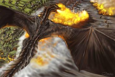 Drogons attack on Lennister Army -GoT Fan Art by Cibana