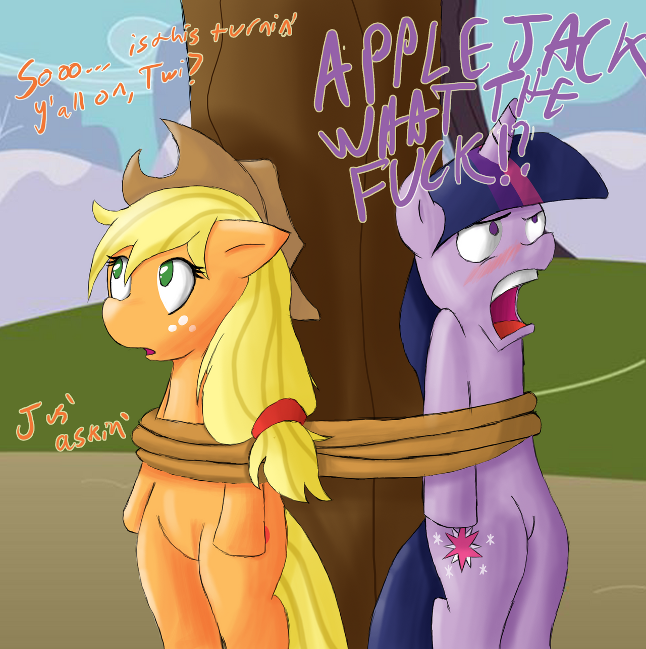 Applejack and Twilight by Untamezerg