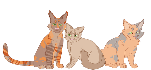 Willownose, Applefrost, and Shyheart