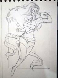 Miss Marvel sketch by Demon-Spirit