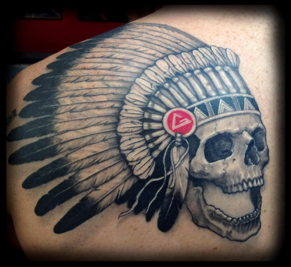 Native american skull and feathers tattoo by cbader on ...