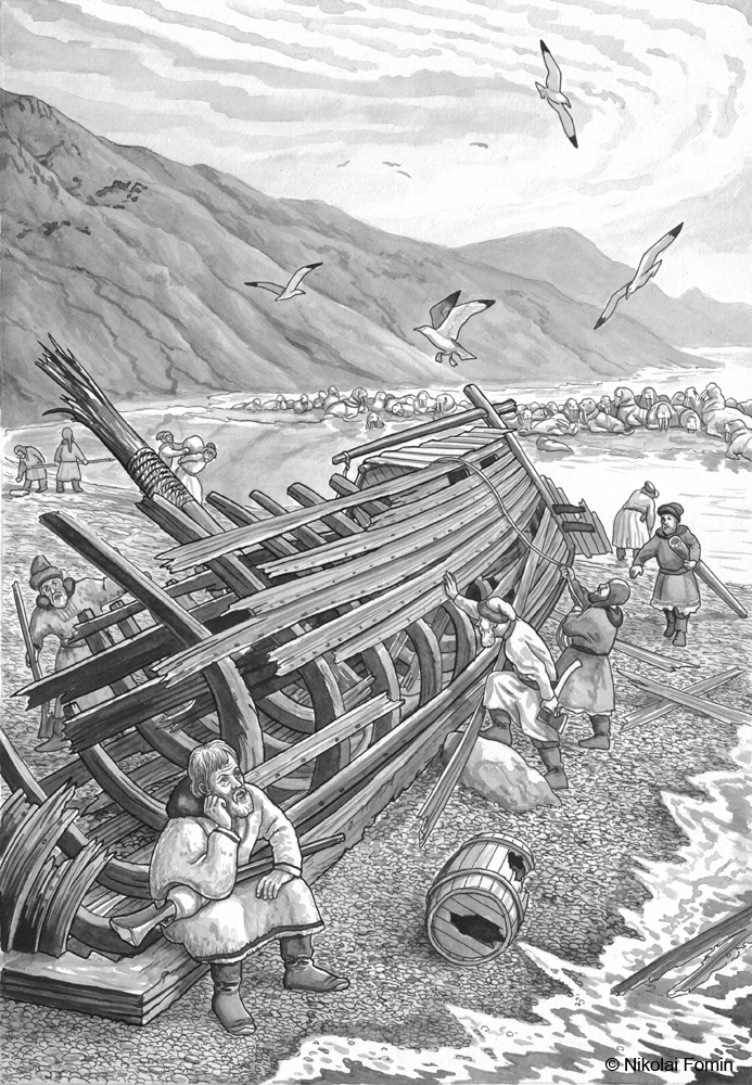 Semyon Dezhnyov and his crew after ship-wreck. by Nikkolainen