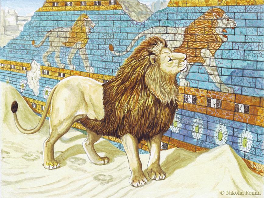 Ishtar Gate guard as lion build standard. by Nikkolainen