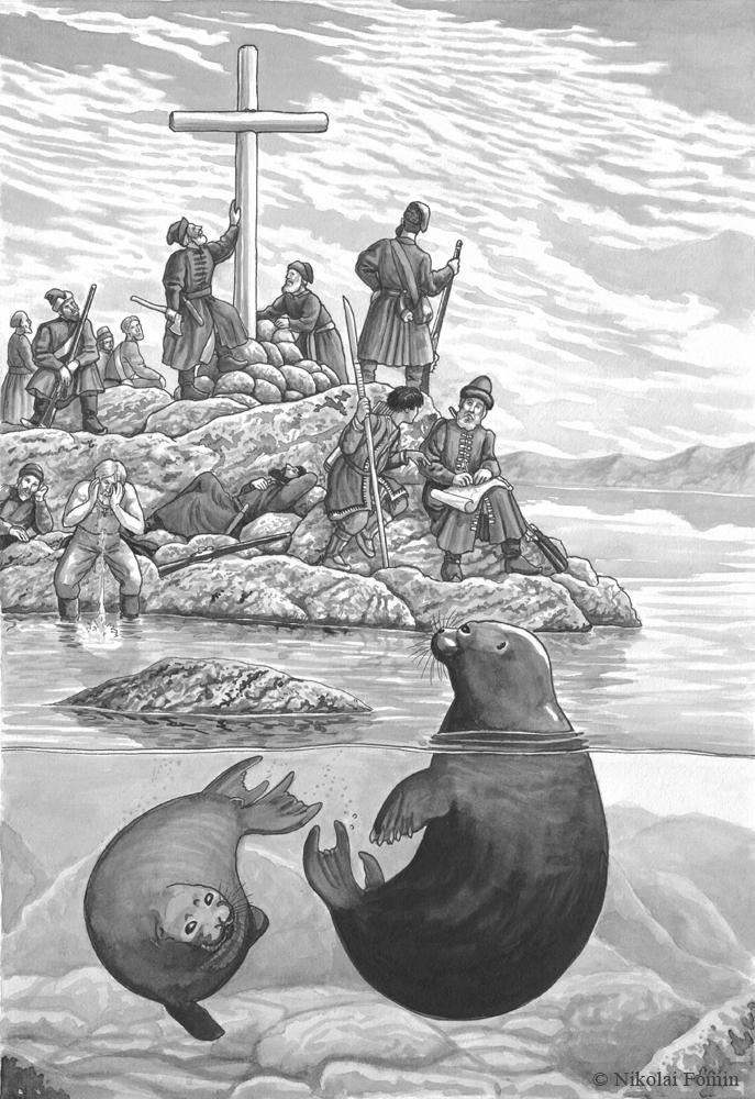 Kurbat Ivanov reaching Baikal in 1643. by Nikkolainen