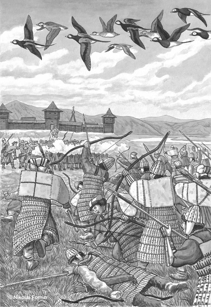 Gizhiga fortress repulsing Koryaks' attack by Nikkolainen
