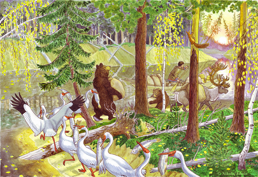 Fat Kol'ket. Illustration for Khanty Fairy Tales. by Nikkolainen