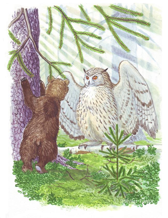 Topotok, the bear cub. Eagleowl. by Nikkolainen