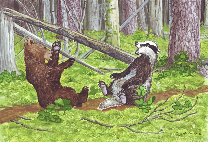 Topotok, the bear cub. Meeting a badger. by Nikkolainen