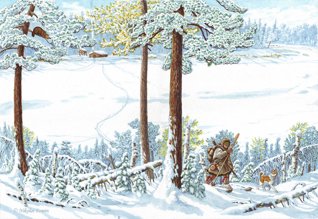 Cover illustration for Khanty Fairytales by Nikkolainen