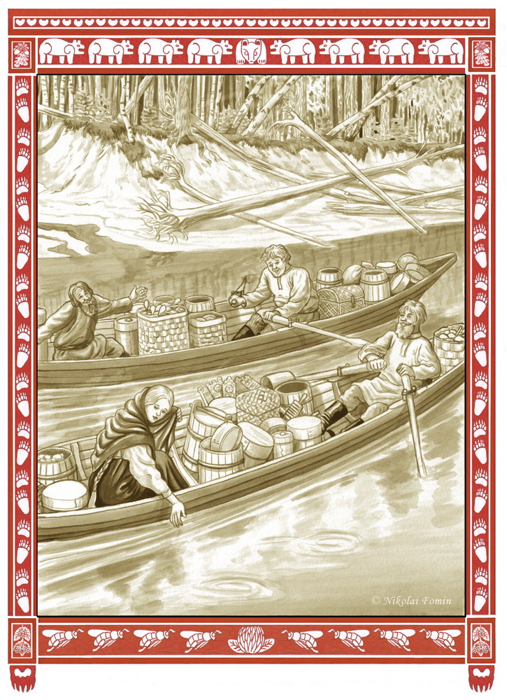 Bear steep-bank. Down the river to the fair. by Nikkolainen