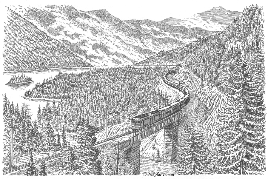 Train in Sayan Mountains. by Nikkolainen