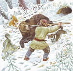 Hunting bear with spear.