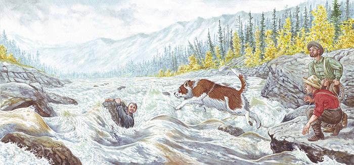 Buck saving Thornton. by Nikkolainen
