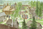 Prince Dmitri visiting Sergius Of Radonezh at The by Nikkolainen