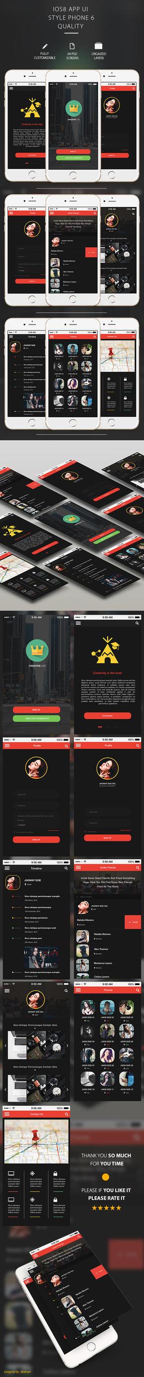 Creativelife Flat Mobile App UI by Hz-designer