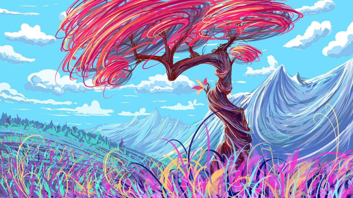 Разноцветное дерево картинка